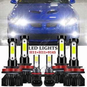For Pontiac GTO 2004 2005 2006 6x 6000K LED Combo Headlights + Fog Lamp Bulbs