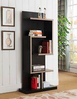 Mid Century Geometric 5- Shelf Asymmetrical Bookcase Shelf Dark Taupe And Black