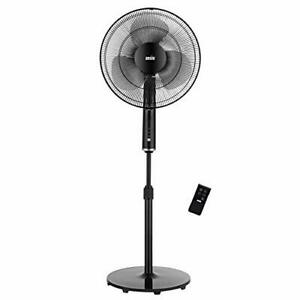 ANSIO Pedestal Fan with Remote Control - 3 Speed Level -16 inch - Black
