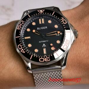 BLIGER Mechanical Men Watch Steel Date Sapphire Crystal Screw Crown MIYOTA 8215