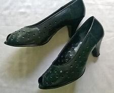 Vintage 1980s Black Leather Peep Toe Fancy Mid Heel Court Shoe/UK 5.5/Euro 38.5