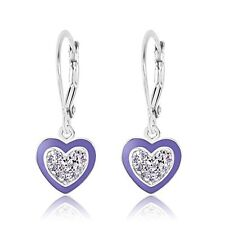 Earrings 925 Sterling Silver White Gold Tone Purple Enamel Heart For Children