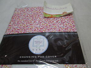 NEW Kenneth Brown Baby SWEET STITCHES Floral Contoured Changing Pad Cover 32x16