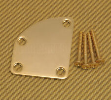 NP-DLX-G Gold Deluxe Cutaway Heel Style 4 Bolt Neck Plate For Guitar w/ Screws