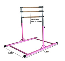 5 Ft Athletic Horizontal Bar Teens Adjustable Gymnastics Training Kip Bars Pink