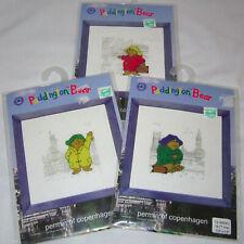 "Lot of 3 Permin of Copenhagen Paddington Bear Cross Stitch Kits 7.5"" Craft"
