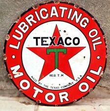 Texaco Motot Oil Gasoline Pump Sign Vintage Porcelain Enamel Double Sided Petrol