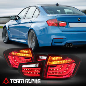 Fits 2012-2015 BMW F30 3-Series 4Dr{NEON TUBE LED BAR}Red/Clear Tail Light Lamp
