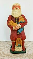 """Linda Horn Collectibles And Company Winking Santa Claus Puppies 9"""" Folk Art"""