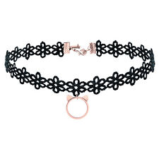 Elbluvf Rose Gold Plated Black Flower Gothic Tattoo Lace Cat Chocker Necklace