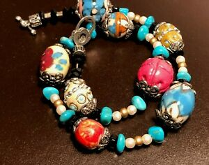 Boho Necklace Colorful Floral Painted Ceramic Beads Turquoise Nuggets