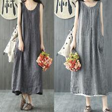 Women Summer Cotton Linen Loose Sleeveless Baggy Dress Holiday Beach Sundress
