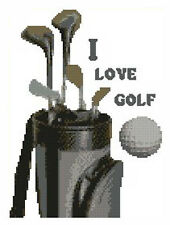 """I Love Golf Complete Counted Cross Stitch Kit 7"""" x 9"""""""
