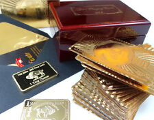 GENUINE 24k GOLD Wove Deck Playing Cards Wooden Box Case Replica Bullion Bar