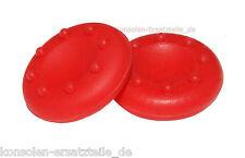 2 Gummi Kappen Aufsatz für PS3 Analog Controller Thumbstick Joystick - Rot * NEU