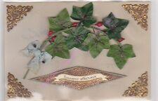 CPA CELLULOID AJOUTIS Souvenirs affecteux branche pailletée  ruban bleu