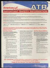 AMERICAN EAGLE Airlines ATR by EXECUTIVE Airline SAFETY CARD brochure ee e590