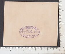 9476 George I. Badger music dealer trade card La Porte, IN red & white rose
