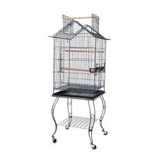 Large Open Pagoda Roof Top Lovebird Cockatiels Parakeets Bird Cage W/Stand 258