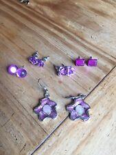 Jewellery Earrings X 5 Job Lot Purple Costume