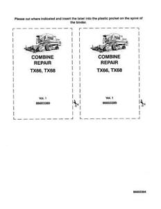 NEW HOLLAND TX66 TX68 COMBINE COMPLETE SERVICE MANUAL