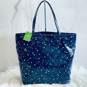 NWT Kate Spade Bon Shopper Daycation Night Sky Blue Tote Shoulder Bag Stars Gift