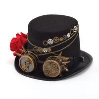 Vintage Victorian Steampunk Gear Goggle Black Top Hat Couple's Hat Party Unisex