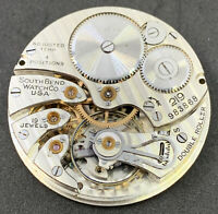 South Bend Grade 219 Pocket Watch Movement Openface 16s 19j Ticking F4972