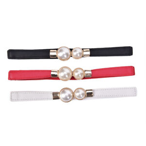 Women Elastic Waist Seal Belt Pearl For Dresses Skirt Waistbands Wasit Belt.RI