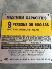 OMC Chris Craft 247 GA Boat Capacity Plate~Tag~9 Persons or 1800 Lbs