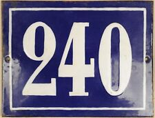 Large old French house number 240 door gate plate plaque enamel steel metal sign