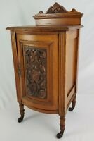 Antique French Carved Mahogany Nightstand End Table Bow Front Cabinet Victorian