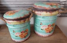 VINTAGE ROSES SET OF 2 METAL STORAGE STOOLS  CUSHIONED LIDS ROPE HANDLES