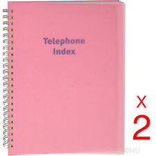2 X PHONE BOOK EXECUTIVE ADDRESS PAD CONTACT DATA NOTE TELEPHONE DIARY COLOURED