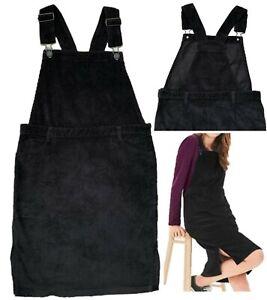 NEXT Womens Black Cord Bib Brace Pinafore Pocket Dress Dungaree 6 - 16 Petite