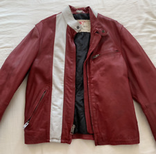 GAP PRODUCT (RED) size S LEATHER RACER VTG MOTORCYCLE BIKER JACKET