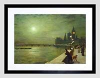 JOHN ATKINSON GRIMSHAW REFLECTIONS ON THAMES 1880 FRAMED ART PRINT MOUNT B12X666