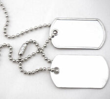 Military Army Blank Shiny Finish Mini Dog Tag Set w/ Stainless Steel Ball Chains