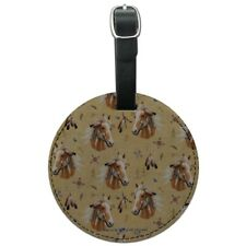 Palamino Horse Selfie Pattern Round Leather Luggage Card Carry-On ID Tag