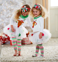 New Baby Girls Christmas Costume Reindeer Top Tutu Tulle Skirt Pants Outfits Set