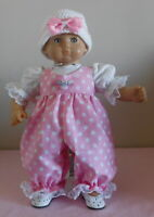 American Girl Doll Clothes Pink Whie Dots Romper Fits Bitty Baby/Berenguer 15-17