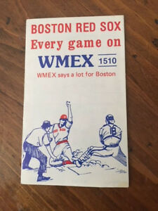 1977 Boston Red Sox Schedule WMEX 1510, compliments Champion Spark Plugs