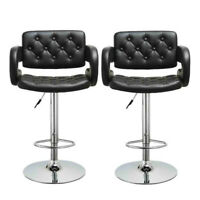 Set of 2 Bar Stools Vintage PU Leather Counter Height Kitchen Dining Pub Chairs
