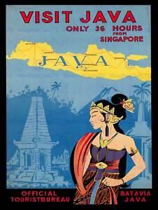 VINTAGE TRAVEL VISIT JAVA ISLAND TEMPLE WOMAN TRADITIONAL ART POSTER CC5599