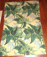 Vintage BArkcloth Era 1940s Fabric Piece Yellow Background Banana Leaf Tropical