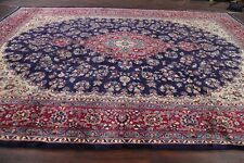 Vintage Traditional Floral NAVY/RED Kashmar Area Rug Hand-made Wool Carpet 10x14
