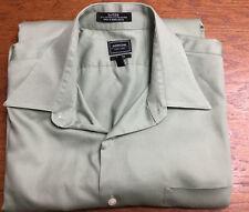 Arrow Men's Size 16 1/2 Light Green Sateen Fitted Dress Button Down Shirt