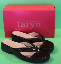 Women's Shoes TARYN ROSE Black Patent Leather Elevated Sandals Size 10 w/ Box