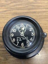 Us Navy Mark I Boat Clock 1942 Nautical 15963 Chelsea Porthole Working W/key