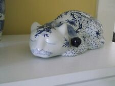 Porcelain Sleeping Cat White with Blue Flowers 9� Long Nos in Original Box
